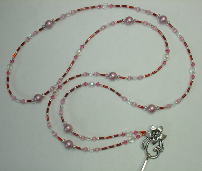 ROMANCE IN THE AIR~SWAROVSKI PEARL ~BEADED LANYARD~ID BADGE HOLDER~LANYARDS