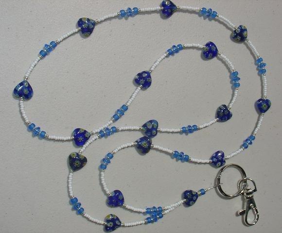 BLUE MILLEFIORI HEART~BEADED LANYARD~ID BADGE HOLDER~LANYARDS
