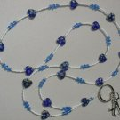 BLUE MILLEFIORI HEART~BEADED LANYARD~ID BADGE HOLDER~LANYARDS