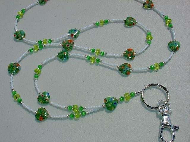 GREEN MILLEFIORI HEARTS~BEADED LANYARD~ID BADGE HOLDER~LANYARDS
