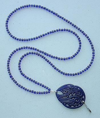 BLUE SWIRL~BEADED LANYARD~ID BADGE HOLDER~LANYARD