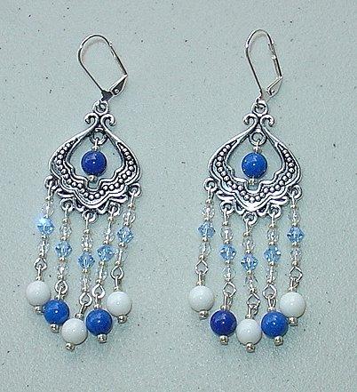 SWAROVSKI~BLUE & WHITE MOUNTAIN JADE CHANDELIER EARRINGS