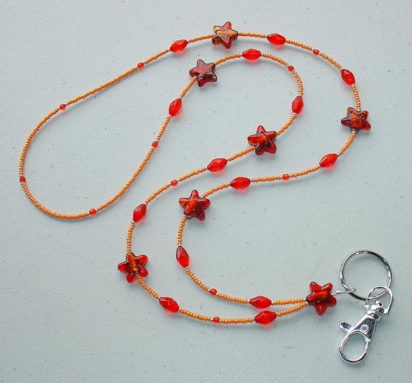 ORANGE DELIGHT~BEADED LANYARD~ID BADGE HOLDER~LANYARD