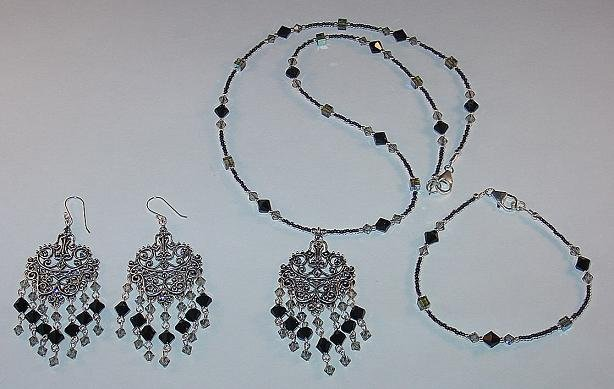 SWAROVSKI BLACK & BLACK DIAMOND~FILLIGREE~STERLING SILVER~NECKLACE~BRACELET~EARRINGS~SET