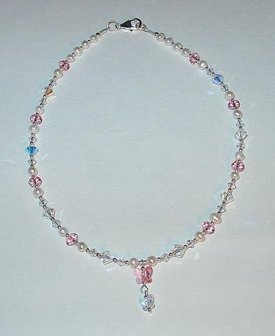 NEW~LIL PRINCESS~SWAROVSKI BUTTERFLY~FRESH WATER PEARL CHILDS DROP NECKLACE