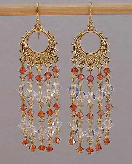SWAROVSKI~CHILI PEPPER~CLEAR CRYSTAL~14KT GP CHANDELIER EARRINGS