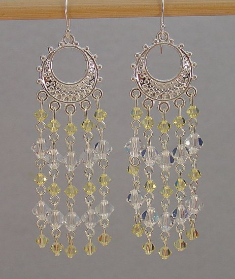 SWAROVSKI~JONQUIL~CLEAR CRYSTAL~STERLING SILVER CHANDELIER EARRINGS