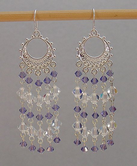 SWAROVSKI~TANZANITE~CLEAR CRYSTAL~STERLING SILVER CHANDELIER EARRINGS