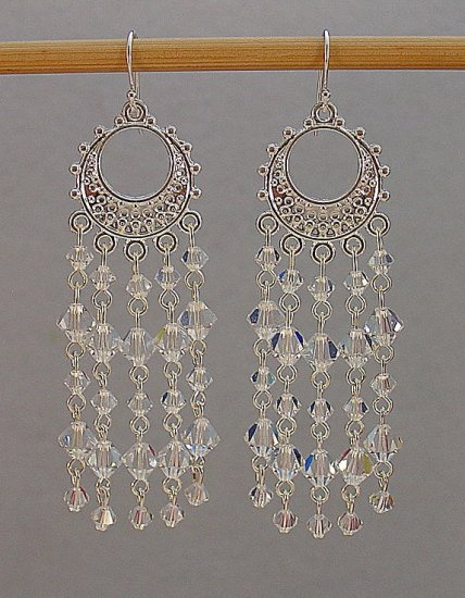 SWAROVSKI~CLEAR CRYSTAL~STERLING SILVER CHANDELIER EARRINGS