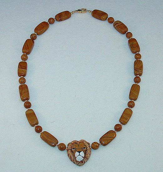 LIONS HEAD~WOOD JASPER~14KT GP NECKLACE