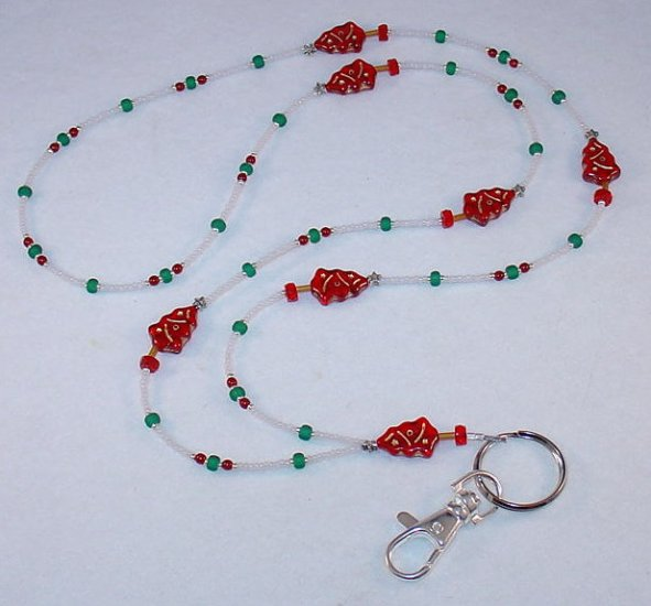BEAUTIFUL RED CHRISTMAS TREE~BEADED LANYARD~ID BADGE HOLDER~LANYARD