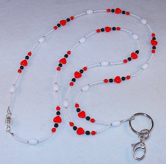 RED HEARTS~BEADED LANYARD~ID BADGE HOLDER~LANYARD~BREAK AWAY