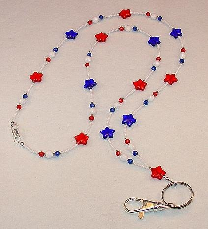 STAR SPANGLED BEADED LANYARD~ID BADGE HOLDER~LANYARD~MAGNETIC CLASP