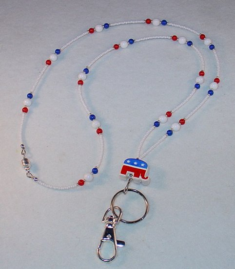 REPUBLICAN~BEADED LANYARD~ID BADGE HOLDER~LANYARD~BREAK AWAY