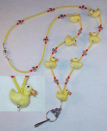 YELLOW DUCKIES~BEADED LANYARD~ID BADGE HOLDER~LANYARD~BREAK AWAY