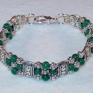 HUNTER GREEN MOUNTAIN JADE~TIBET SILVER BRACELET
