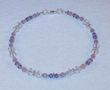 SWAROVSKI CRYSTAL & TANZANITE~CATS EYE ANKLET