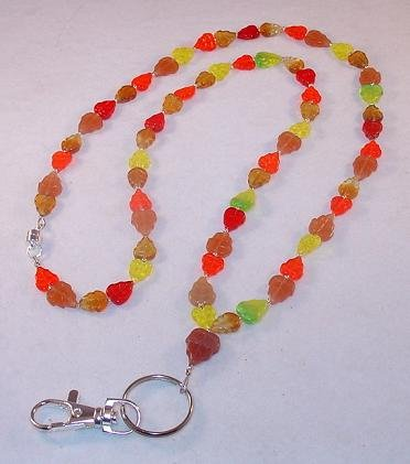 AUTUMN LEAVES~BEADED LANYARD~ID BADGE HOLDER~BREAK AWAY