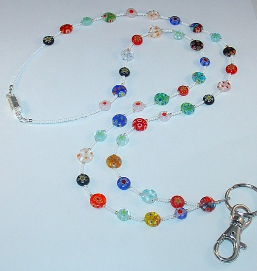 MILLEFIORI MADNESS 2~BEADED LANYARD~ID BADGE HOLDER~LANYARD~BREAK~AWAY