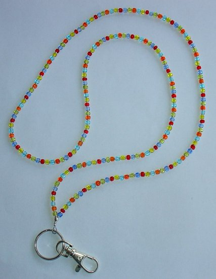 CONFETTI~BEADED LANYARD~ID BADGE HOLDER~LANYARD
