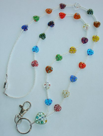 HEART MILLEFIORI~BEADED LANYARD~ID BADGE HOLDER~LANYARD~BREAK~AWAY