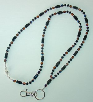 ELEGANT BLACK & TOPAZ~BEADED LANYARD~ID BADGE HOLDER~LANYARD~BREAK~AWAY