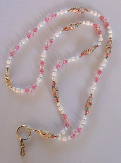 PINK CLOISONNE~WHITE MOUNTAIN JADE~BEADED LANYARD~ID BADGE HOLDER~LANYARD~BREAK~AWAY