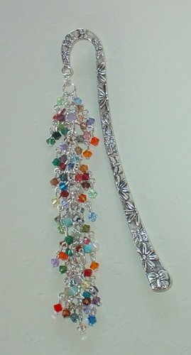 SWAROVSKI IN 56 ASSORTED COLORS~TIBET SILVER BOOK MARKER