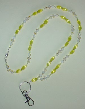 SUNNY CATS EYE~MILLEFIORI~BEADED LANYARD~ID BADGE HOLDER~LANYARD~BREAK~AWAY