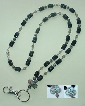 RAKU 3 SKULL WHEEL~GOTHIC~BEADED LANYARD~ID BADGE HOLDER~LANYARD~BREAK AWAY