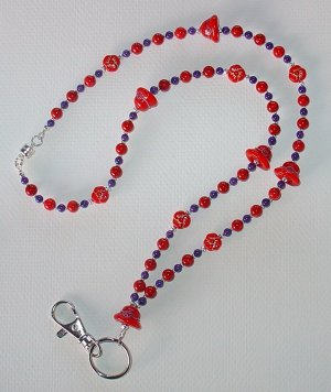 RED HAT~BEADED LANYARD~ID BADGE HOLDER~LANYARD~BREAK AWAY