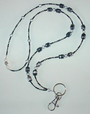ELEGANT BLACK & SILVER~BEADED LANYARD~ID BADGE HOLDER~LANYARD~BREAK AWAY