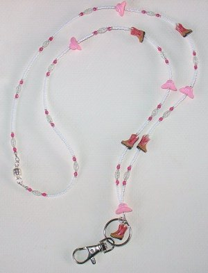 COW GIRL~ BEADED LANYARD~ID BADGE HOLDER~LANYARD~BREAK AWAY