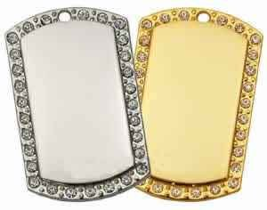 Large Gold Plated with CZ stones  I. D. Tag