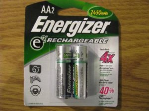 NIB - Energizer AA2 RECHARGEABLE AA Batteries NH15BP-2