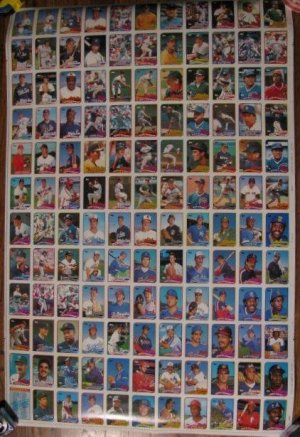 Rare 1989 TOPPS uncut baseball card sheet-Board 8 & 7
