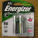 2pk Energizer AA2 RECHARGEABLE AA Batteries NH15BP-2