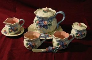 Fitz and Floyd 1993 lot of 7 Taiwan Tea Pot Cup Set