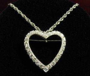 14K White Gold Diamond Heart Pendant Necklace 2.60 ctw.