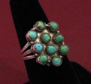Antique Navajo Ingot Coin Silver Turquoise Ring