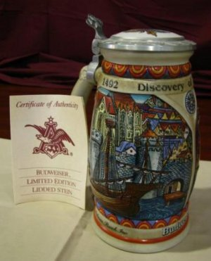 1989 Budweiser Discover America NINA Lidded Stein