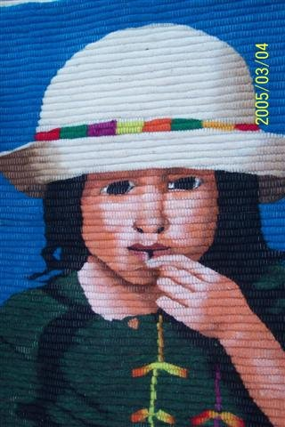 """Handwoven Peruvian tapestry - Andean Girl - 30"""" x 22"""""""