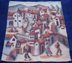 San Pedro village handwoven peruvian wool tapestry