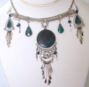 Alpaca necklace set - Chrysocolla