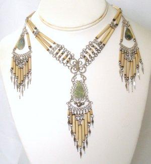 Alpaca silver and bambu necklace set - Serpentine