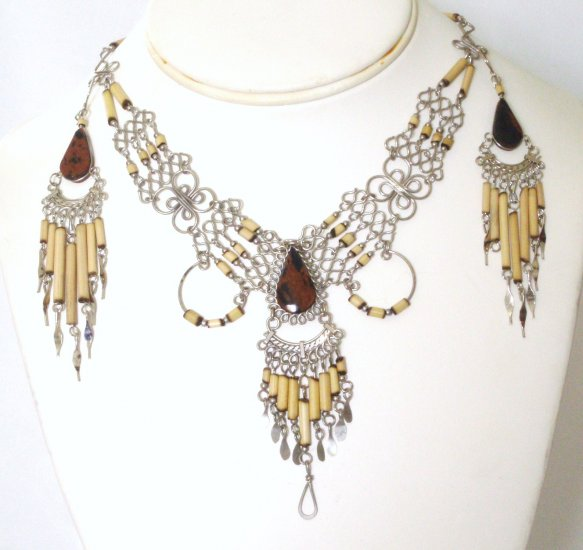 Alpaca silver and bambu necklace set - Tiger Eye
