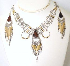 Alpaca silver and bambu necklace set - Tiger Eye