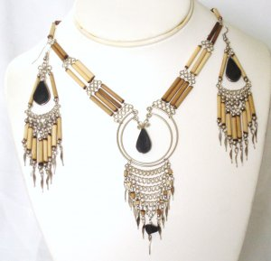 Alpaca silver and bambu necklace set - Obsidian