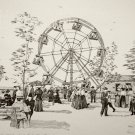 Print of Pen and Ink Drawing of Ferris Wheel at Pabst WFB Resort 1889