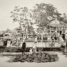 Print of Pen and Ink Drawing of Bandstand at Pabst WFB Resort 1889